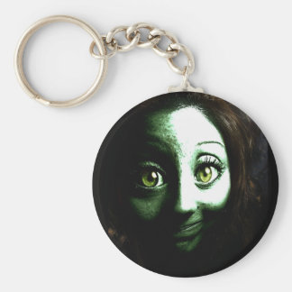 Zombie Girl Teenager with BIG eyes Key Chains