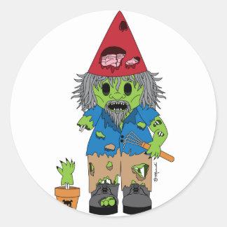 Zombie Gnome Classic Round Sticker