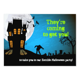 Zombie Graveyard Halloween Party Card