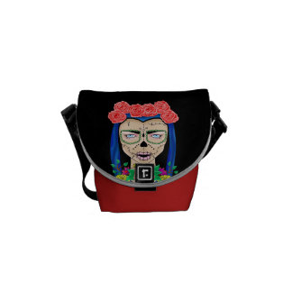 Zombie halloween girl with roses messenger bags