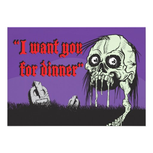 Zombie Halloween Night dinner party invitation,