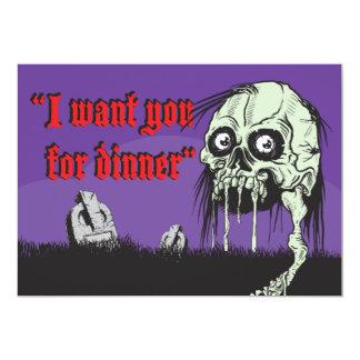 Zombie Halloween Night dinner party invitation, 13 Cm X 18 Cm Invitation Card