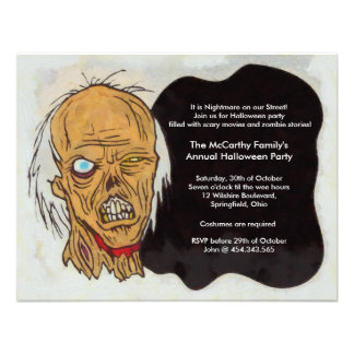 Zombie Halloween Party Personalized Invites