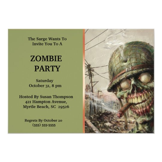 Zombie Halloween  Party Invitations