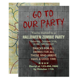 Zombie Halloween Party Undead Apocalypse Bloody 13 Cm X 18 Cm Invitation Card