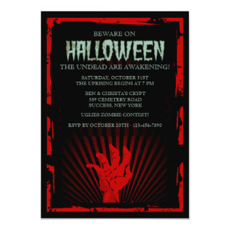 Zombie Hand Halloween Party Invitation