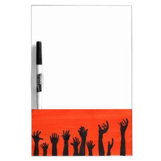 Zombie Hands Orange Dry-Erase Whiteboard