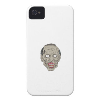 Zombie Head Front Drawing Case-Mate iPhone 4 Cases