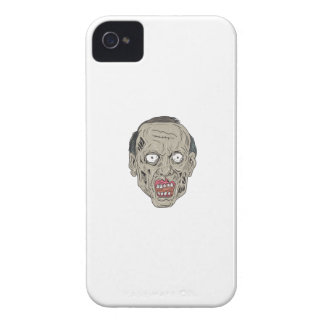 Zombie Head Front Drawing iPhone 4 Cover