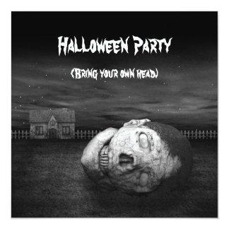Zombie Head - Halloween Party Invitation