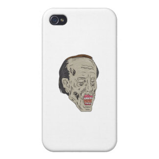 Zombie Head Three Quarter View Drawing Covers For iPhone 4