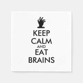 Zombie Humor Napkins Keep Calm and Eat Brains Hand Disposable Napkin