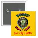 Zombie Hunt Club - Living Dead Pinback Buttons