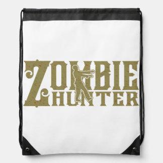 Zombie Hunter Drawstring Laundry Backpack Bag