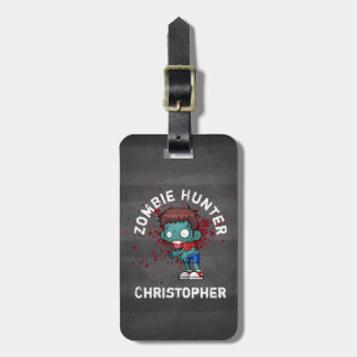 Zombie Hunter with Blood Splatter Creepy Cool Luggage Tag
