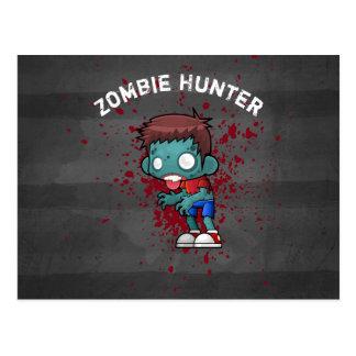 Zombie Hunter with Blood Splatter Creepy Cool Postcard