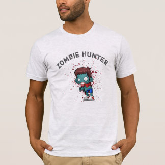 Zombie Hunter with Blood Splatter Creepy Cool T-Shirt