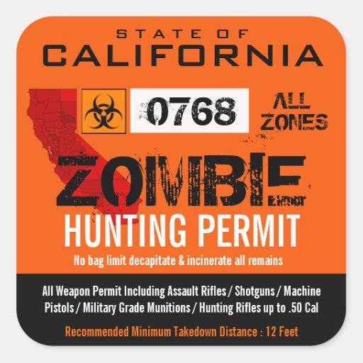 Zombie Hunting Permit Sticker Sticker