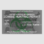 Zombie hunting permit template (Green on Grey) Rectangular Sticker