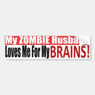 Zombie Husband Loves Brains BUMPER Design Bumper Sticker
