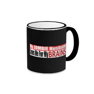Zombie Husband Loves Brains BUMPER Design Ringer Mug