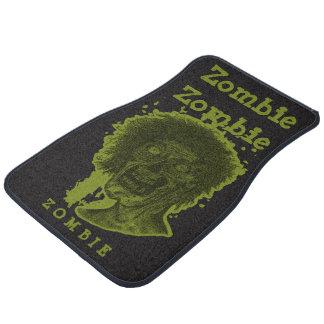 Zombie Illustrated Zombie Head Black & Green Floor Mat