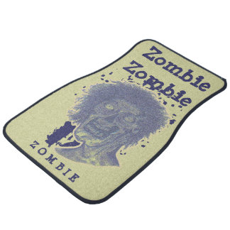 Zombie Illustrated Zombie Head Yellow Beige/Blue 2 Car Mat