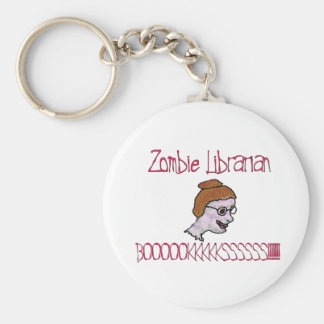 Zombie Librarian Basic Round Button Key Ring
