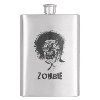 Zombie  Looking at you! Graphic Black & White Hip Flask