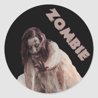 Zombie married classic round sticker
