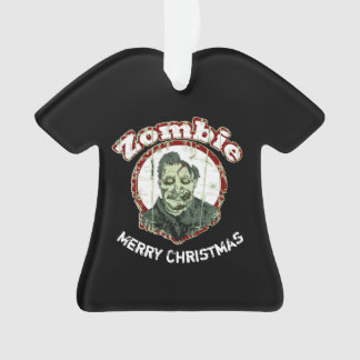 Zombie Merry ChristmasRetro-Red & Green Distressed Ornament