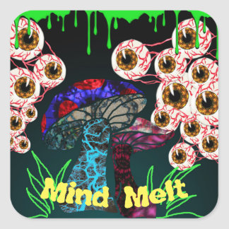 Zombie Mind Melt Square Sticker