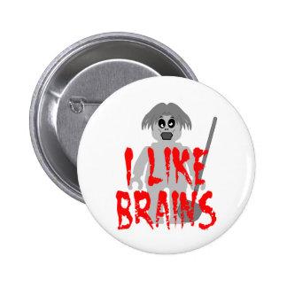 Zombie Minifig 'I Like Brains' Pins