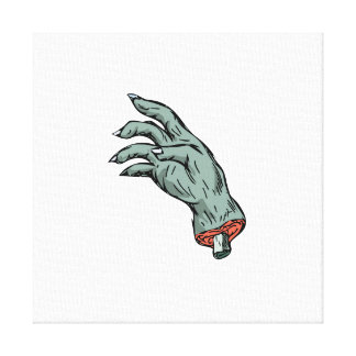 Zombie Monster Hand Drawing Canvas Print