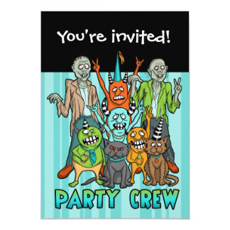 "Zombie Monster Party Crew 5"" X 7"" Invitation Card"