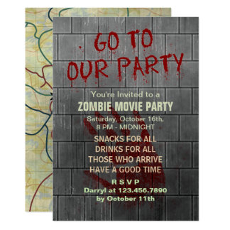 Zombie Movie Party Undead Apocalypse Bloody Wall 13 Cm X 18 Cm Invitation Card