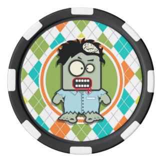 Zombie on Colorful Argyle Pattern Poker Chip Set