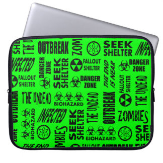 Zombie, Outbreak, Biohazard Black & Neon Green Laptop Sleeve
