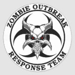 Zombie Outbreak Biohazard Demon Round Sticker