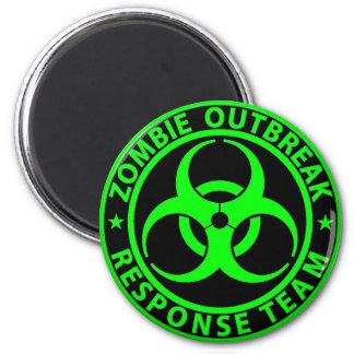 Zombie Outbreak Response Team Neon Green 6 Cm Round Magnet