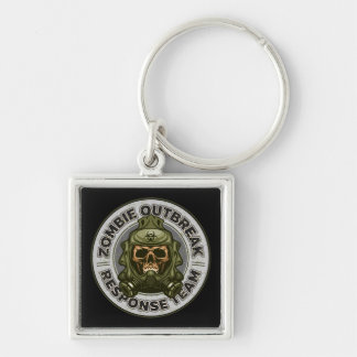 Zombie Outbreak Response Team Silver-Colored Square Key Ring