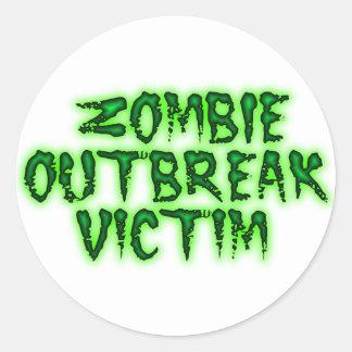 zombie outbreak victim classic round sticker