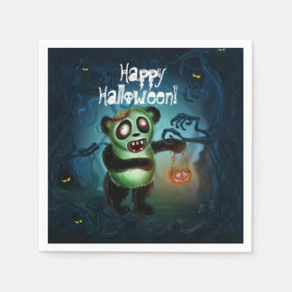 Zombie Panda Halloween Forest Paper Napkins