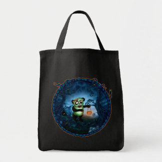 Zombie Panda Spooky Hollow Grocery Tote Bag