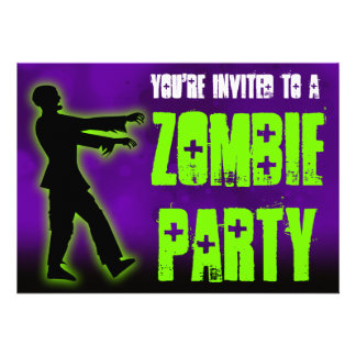 Zombie Party Green Walker Personalized Invitations
