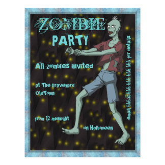 Zombie Party template for 21.5 Cm X 28 Cm Flyer