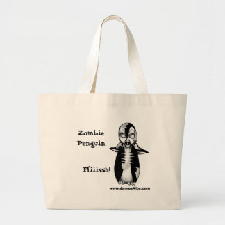 Zombie Penguin: Ffiiissh! Large Tote Bag