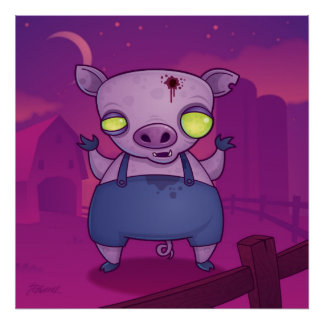 Zombie Pig Poster