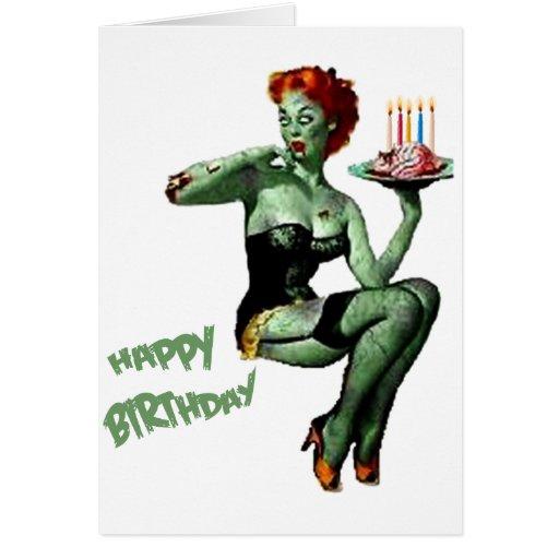 Zombie pin up birthday cards zazzle