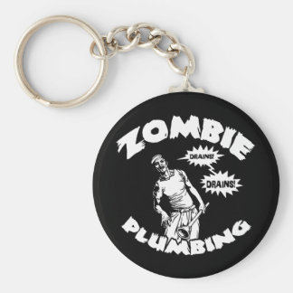 Zombie Plumbing Basic Round Button Key Ring